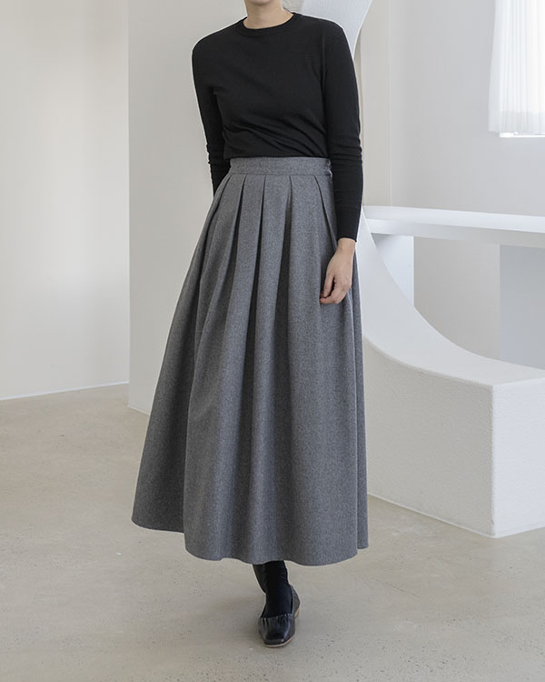 [black label] pleated wool skirt (reorder open, 2/2 순차 출고 예정)